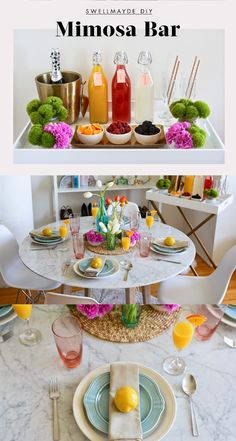 Warm weather calls for brunch so why not make everyday a brunch party at home? @swellmayde hosts the perfect springtime brunch for her friends by setting up a colorful table and mimosa bar. At your spring party DIY mimosa's with different color juices in glass bottles, champagne flutes and pastel colored plates! Follow the inspiration at your local Target. http://www.swellmayde.com/2015/04/diy-mimosa-bar-and-spring-table-setting.html