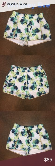 """NWT Whitney Eve 'Nuns Orchid' Shorts - Sz S- R$125 NWT Whitney Eve 'Nuns Orchid' blue and green floral shorts. Elastic waist and pockets. Fully lined. Whitney used to be on the tv show """"The Hills"""". New with tags. No flaws. Measurements: waist 15"""", rise 11"""", inseam 2"""". Material: 100% polyester. Made in China. Size small. Retail $125.  ✅Always Authentic✅ ⬇️Bundle & Save⬇️ 😊Cross listed so will sell quickly😊 ❌NO Trades❌NO PayPal❌ Whitney Eve Shorts"""