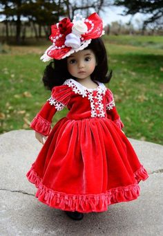"""""""A Victorian Christmas""""Velvet Dress,Clothes,Outfit for 13""""Effner Little Darling"""