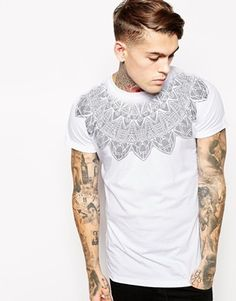 ASOS T-Shirt With Geo-Tribal Yoke Print And Rolled Sleeve Skater Fit - White
