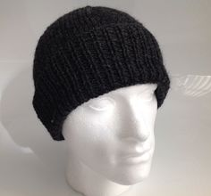Men's Charcoal Grey 100% Wool Aran Beanie Hat  - Hand Knitted in Scotland by sewmoira on Etsy
