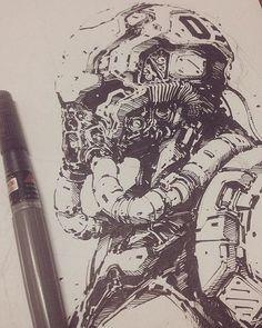 Arte Sci Fi, Sci Fi Art, Art Sketches, Art Drawings, Arte Robot, Arte Cyberpunk, Alien Concept Art, Futuristic Art, Character Design Inspiration