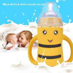 Best Baby Bottles for smoothies. - Kids and Mom Shop Best Baby Bottles, Bottle Feeding, Baby Bibs, Drinking Water, Cute Babies, Smoothies, Cups, Bee, Handle