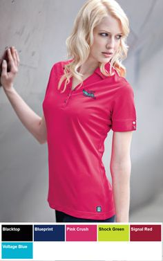 #ogio #ladies #polo $42.98 Designed to handle the curves, the Glam has a contoured fit and unique open hem cuffs with OGIO logo debossed metal snaps.  Features: 5.5-ounce; 100% double knit poly mesh with stay-cool wicking technology; OGIO heat transfer label for tag free comfort; self-fabric collar; OGIO jacquard neck tape; 3 snap Y-placket with OGIO logo debossed metal snaps; OGIO badge at hem.  http://ezcorporateclothing.com/custom/66-Ladies-Polos/1354-OGIO-Ladies-Glam-Polo/