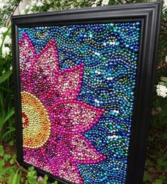 Recycle those Mardi Gras beads! Original wall art Spring flower, pink and yellow, blue, whimsical Mardi Gras bead mosaic, collage. Cute Crafts, Crafts To Do, Bead Crafts, Arts And Crafts, Diy Crafts, Decor Crafts, Paper Crafts, Upcycled Crafts, Art Perle