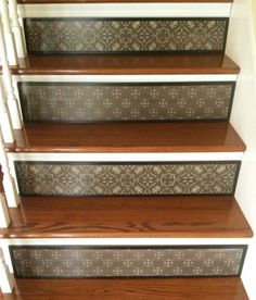 Items similar to Alternative to Stair Decals, Stair Stickers and Stair Riser Decals / Stenciled Stair Riser / Moroccan / Brown Decor / Damask / Item 059 on Etsy Stenciled Stairs, Painted Stair Risers, Painted Staircases, Staircase Makeover, Staircase Ideas, Brown Home Decor, Stair Stickers, 2nd Floor, Home Remodeling