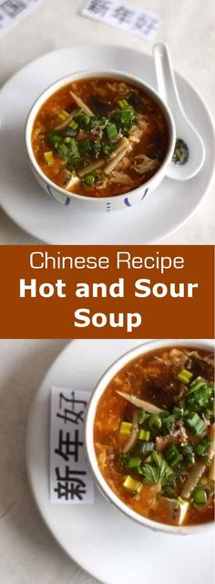 Hot and sour soup is a thick peppery soup made with mushrooms, bamboo, tofu, pork or poultry and flavored with soy and rice vinegar. #China #Chinese #ChineseCuisine #ChineseRecipe #ChineseFood #AsianCuisine #AsianRecipe #ChineseSoup #Soup #WorldCuisine #196flavors