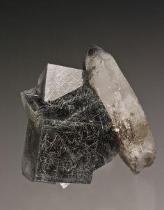 Fluorite with Jamesonite on Quartz -   Yaogangxian Mine, Hunan Prov., China  4.6 x 4.3 x 2.9 cm / Mineral Friends <3
