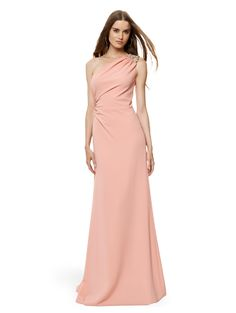 David Meister One Shoulder Jeweled Gown