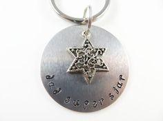 Hand stamped dad keychain by jewelryandmorebykat on Etsy