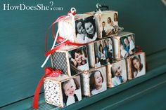 photo block christmas ornaments