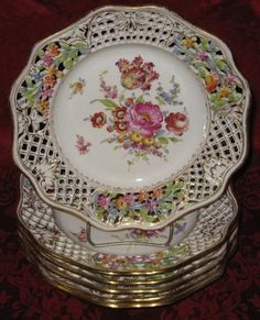 "Six 19th Century Dresden Meissen Reticulated Border Floral Porcelain Plates 8-1/2"" diameter 