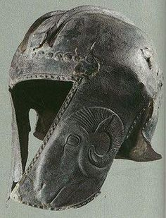 An Illyrian helmet bearing a ram on the 'cheekplate'.  Olympia Museum, no date