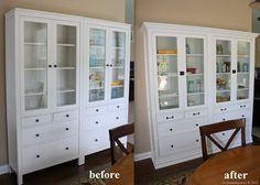 Cabinet built iun made with two ikea HEMNES Glass-door cabinets with 4 drawers, white, molding and replaced hardware. There seem to be lots of ways to make built ins affordably. I would love to turn a wall of bookshelves into similar great storage.