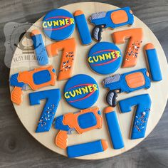 Nerf Birthday Party, Nerf Party, Birthday Party Decorations, Boy Birthday, Birthday Ideas, Nerf Gun Cake, Pistola Nerf, Gun Cakes, Cookies For Kids