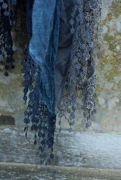 Indigo blue Italian scarf
