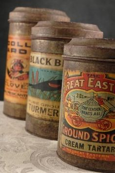 Vintage Spice Tins with paper labels