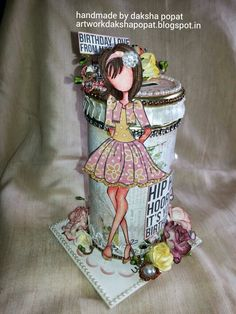 artwork:daksha popat: Prima Doll altered piggy bank:Hello ! crafty frien...