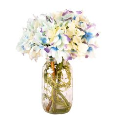 Spring Additions Confetti Hydrangea Mason Jar (275 BRL) ❤ liked on Polyvore featuring home and kitchen & dining