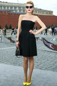 black dress, neon pumps