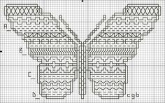 Cross Stitch Charts | ... Four Back Stitch Pattern - Free Butterfly Four Back Stitch Chart