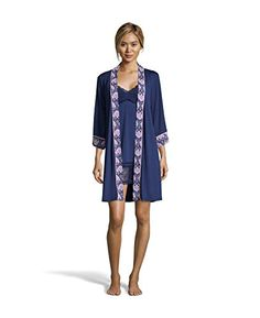 Nanette Nanette Lepore Womens Chemise Nightgown and Belted Robe Pajama Set Navy XLarge ** Amazon most trusted e-retailer #BabydollDress