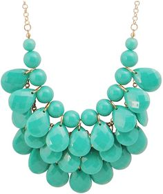 Jane Stone Fashion Floating Bubble Necklace Teardrop Bib Collar Statement Jewelry for Women Emerald Necklace, Emerald Jewelry, Stone Necklace, Gemstone Jewelry, Beaded Jewelry, Jewelry Necklaces, Resin Necklace, Pearl Jewelry, Jewellery