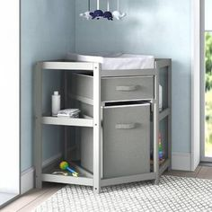 Zoomie Kids Carner Diaper Corner Baby Changing Table with Pad & Reviews   Wayfair Corner Changing Tables, Modern Changing Tables, Changing Table Topper, Baby Changing Table, Changing Table Dresser, Changing Pad, Storage Shelves, Open Shelving, Storage Baskets