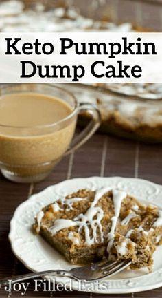 Nov 2019 - Keto Pumpkin Dump Cake - Low Carb, Sugar Free, THM S - My Pumpkin Dump Cake is like a pumpkin pie & a crumb cake got married & had a baby. The ultimate fall dessert! It is more cakey than a custard but more custardy than a cake. Low Carb Sweets, Low Carb Desserts, Low Carb Recipes, Dessert Recipes, Cookie Recipes, Recipes Dinner, Breakfast Recipes, Protein Recipes, Paleo Dessert