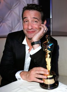 """The Academy Awards Best Actor Oscar Jean Dujardin for """"The Artist"""" 2011 Jean Dujardin, Academy Award Winners, Oscar Winners, Academy Awards, Best Actor Oscar, Oscar Night, The Artist, Vanity Fair Oscar Party, Star Pictures"""