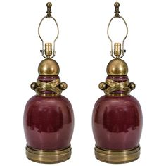 A Mid Century Pair of  Wine Colored Table Lamps | From a unique collection of antique and modern table lamps at http://www.1stdibs.com/furniture/lighting/table-lamps/