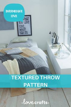 Test your skills with this patchwork-style blanket pattern. With different colors and textures, this is the perfect blanket to have in your home. | Downloadable PDF at LoveCrafts.com