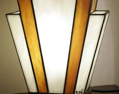 """Art Deco """"Nude Caramel"""" genuine stained glass Tiffany lamp"""