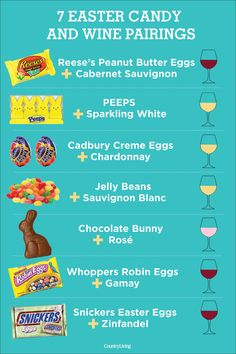 Celebrate the spring holiday with these Easter candy and wine pairings featuring all your favorite treats and candies like Peeps, Reese's peanut butter eggs, jelly beans, chocolate bunnies, and more. Wine Tasting Party, Wine Parties, Parties Food, Wine Wednesday, Pinot Noir, Reese Peanut Butter Eggs, Beer Pairing, Wine Pairings, Cheese Pairings