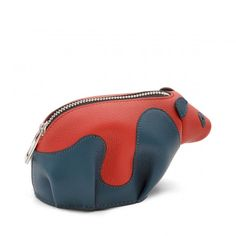 Loewe Small Leather Goods - PANDA COIN PURSE Red/blue