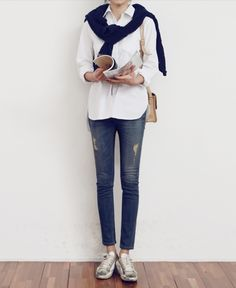 simple does it, jacket tied around shoulders white button up lightly distressed jeans - faded threads but no holes