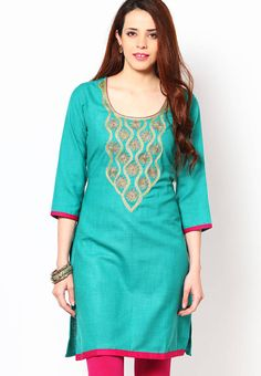 Shopo.in : Buy Riya Green Golden Embroidered Kurtisitem Sku- Rf-1656 online at best price in New Delhi, India