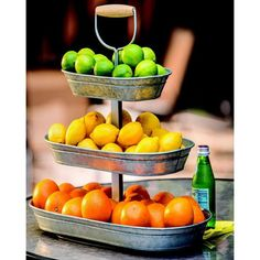 Triple-Tier Galvanized Steel Serving Stand fruit beverages