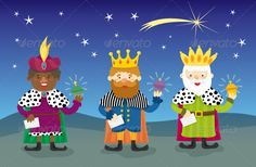 Cute Vector of Three Magi, Three Magic Kings or Three Wise Men who visited Jesus after his birth, bearing gifts of gold, frankince