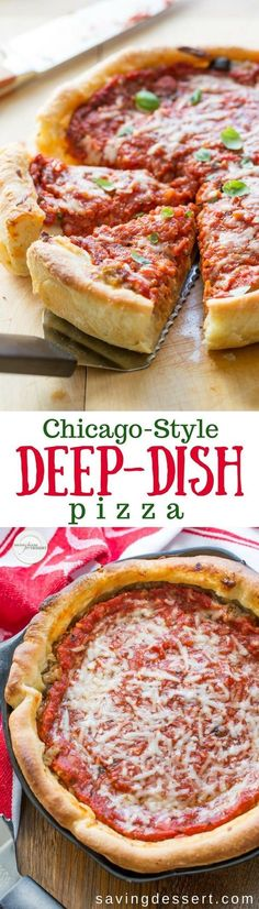 You're going to love this Chicago-Style Deep-Dish Pizza Recipe you can make at home! Try this easy, detailed recipe with step-by-step directions for a thick and buttery, flaky crust and a rich, chunky tomato sauce, with plenty of gooey cheese. Pizza Recipes, Beef Recipes, Cooking Recipes, Fun Recipes, Kitchen Recipes, Vegan Recipes, Dinner Recipes, Chicago Style Pizza, Recipe For Chicago Pizza