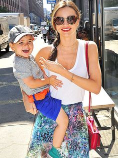 Hollywood's Most Stylish Moms: Miranda Kerr sticks to hip pieces to make running after a toddler in the city a breeze. But her best accessory will always be son Flynn.