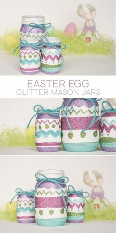 The are several DIY mason jar craft ideas that can be found to work anywhere from table top decors to kitchen party preps. In addition, the mason jar craft can be used as gifts to any loved one or fam Pot Mason, Mini Mason Jars, Glitter Mason Jars, Mason Jar Gifts, Gift Jars, Jar Crafts, Bottle Crafts, Easter Crafts, Easter Decor