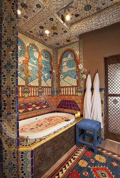 Inn of Five Graces - Santa Fe, New Mexico Travel New Mexico, Mexico Style, Santa Fe Style, Hacienda Style, Bathroom Colors, Colorful Bathroom, Bathroom Ideas, Santa Fe Nm, Spanish Style