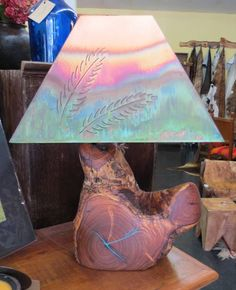 MESQUITE LAMPS_      Description:  MESQUITE WITH TURQUOISE INLAY LAMP & COPPER SHADE DIFFERENT SIZES & DESIGN AVAILABLE