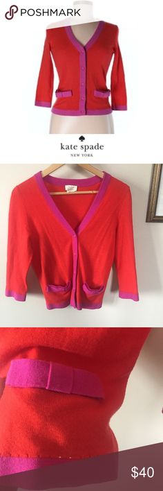 Kate Spade Red & Purple Wool & Cashmere Cardigan Kate Spade Red & Purple Wool & Cashmere Cardigan. 17 inch bust. 23 inches long. Worn a few times. Excellent condition. Bow accent on the pockets. Feel free to make an offer or bundle & save. kate spade Sweaters Cardigans