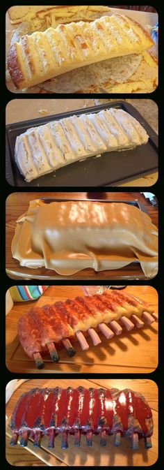 carving a ribs cake step by step
