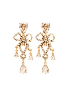 Oscar de la Renta - Golden Crystal & Russian Gold Bow Earrings (=)
