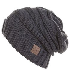 Thick Slouchy Knit Unisex Beanie Cap Hat,One Size,Charcoa...