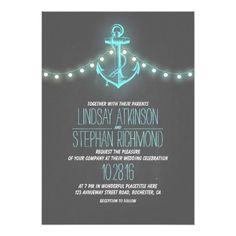 Chalkboard Wedding Invitation turquoise nautical chalkboard anchor wedding card