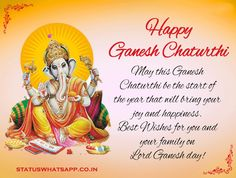 Share the joy and blessings of Lord Ganesha with All. Ganesh Chaturthi Quotes, Ganesh Chaturthi Status, Happy Ganesh Chaturthi Wishes, Happy Ganesh Chaturthi Images, Hd Quotes, Wish Quotes, True Quotes, Good Wishes Quotes, Happy Friendship Day Quotes
